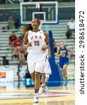 Small photo of TORONTO,CANADA-JULY 16, 2015:Toronto 2015 Pan American Games, women basketball: Alaina Coates (15) from the US team return to defend her team's hoop after an attack on Brazil's area.CN 01953074