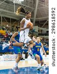 Small photo of TORONTO,CANADA-JULY 16, 2015: Toronto 2015 Pan American Games, women basketball: Alaina Coates from the United States wins a defensive rebound under her team hoop with an spectacular jump.CN 01953074