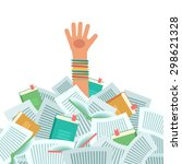 pile of books and overwhelmed... | Shutterstock .eps vector #298621328