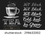 cup of tea.  lettering on... | Shutterstock .eps vector #298632002