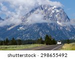 mountain with a fogbank rising... | Shutterstock . vector #298655492