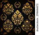 set of gold damask ornaments.... | Shutterstock .eps vector #298686872