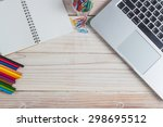 office supplies and gadgets on... | Shutterstock . vector #298695512