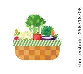 vegetable basket isolated ... | Shutterstock .eps vector #298718708