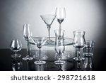 different glassware on dark... | Shutterstock . vector #298721618