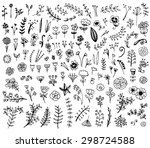 floral hand drawn vintage set.... | Shutterstock .eps vector #298724588