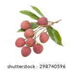 fresh lychees on white... | Shutterstock . vector #298740596