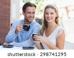 portrait of a cute couple... | Shutterstock . vector #298741295