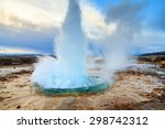 The Strokkur Geyser Erupting A...