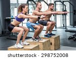 three muscular athletes doing... | Shutterstock . vector #298752008