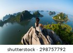 a young traveler girl sit on... | Shutterstock . vector #298757792