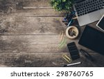 working place  wooden table | Shutterstock . vector #298760765