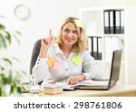 Small photo of funny business woman overwhelmed with sticky reminder notes