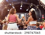 two girls on shoulders in the... | Shutterstock . vector #298767065