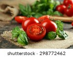 Cherry Tomatoes With Basil On...