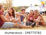 friends sitting on the grass... | Shutterstock . vector #298773782