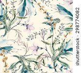 Stock photo field flowers seamless pattern 298774082