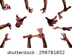different zombie hand isolate... | Shutterstock . vector #298781852