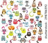 set of cats and kittens. raster ... | Shutterstock . vector #298786592