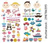 scrapbook boy and girl set.... | Shutterstock . vector #298786595