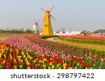 Colorful Tulips And Wooden...
