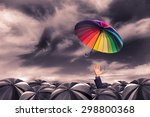 rainbow umbrella fly out from... | Shutterstock . vector #298800368