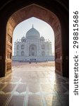 view of taj mahal from mosque.... | Shutterstock . vector #298815686