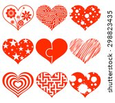 set of hearts with a pattern.... | Shutterstock .eps vector #298823435