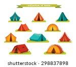 Set Of Tourist Tents. Vector...