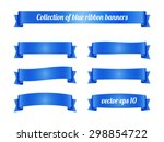 Set Of Blue Ribbon Banners For...