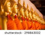 Row Of Golden Buddha In...