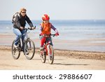 mother and daughter riding on... | Shutterstock . vector #29886607