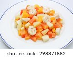 fruit cocktail in syrup ... | Shutterstock . vector #298871882
