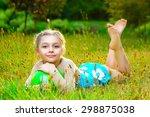 outdoor portrait of young cute...   Shutterstock . vector #298875038
