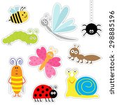 cute cartoon insect sticker set.... | Shutterstock . vector #298885196