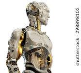 cool robot upper body in side... | Shutterstock . vector #298898102