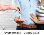 real estate agent giving keys... | Shutterstock . vector #298898216