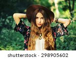 fashion portrait of beautiful... | Shutterstock . vector #298905602
