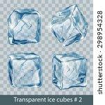 set of four transparent  blue... | Shutterstock .eps vector #298954328