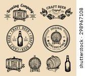 old brewery logos set. kraft... | Shutterstock .eps vector #298967108