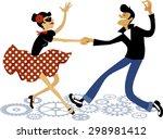 cartoon couple dressed in... | Shutterstock .eps vector #298981412