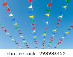 flag banners blowing in wind.... | Shutterstock . vector #298986452