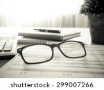 marketer's desk with analysis... | Shutterstock . vector #299007266
