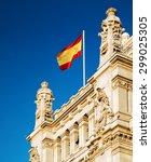 The Flag Of Spain Fluttering O...