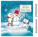 funny winter christmas story... | Shutterstock .eps vector #299035442