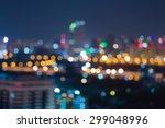 bokeh light at night of office... | Shutterstock . vector #299048996