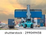 forklift handling container box ... | Shutterstock . vector #299049458