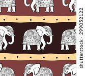 Elephants. Ethnic Seamless...