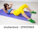 happy cutie athletic girl   ... | Shutterstock . vector #299059865