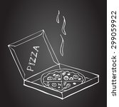 hand drawn pizza in box on a...